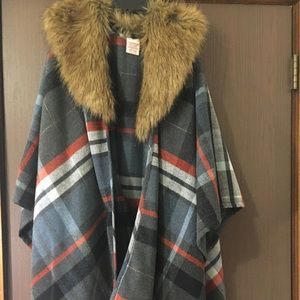 Gray and Red Plaid Cape from Merona